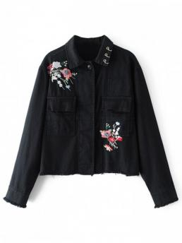 Embroidery Floral Shirt Full Wide-waisted Fashion Jackets Beaded Floral Embroidered Denim Jacket