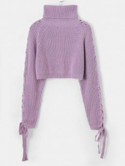 Beautiful Full Sleeve Pullovers Polyacrylic Solid Turtleneck Cropped Sweater