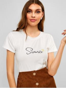Summer Letter Embroidery Short Round Casual Round Neck Letter Embroidered Tee