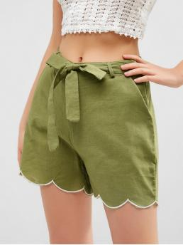 Summer Yes Embroidery and Scalloped Others Flat Zipper High Regular Casual Zipper Fly Scalloped Hem Belted Shorts