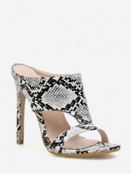 Summer Snakeskin Rubber Others Slip-On Stiletto Slides Casual and Club and Daily Fashion and Sexy For Hollowed Out European High Heel Sandals