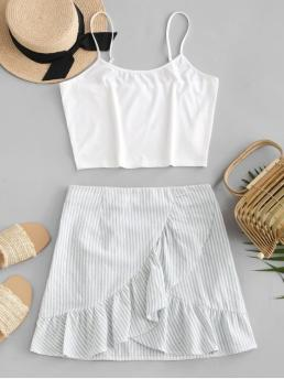 No Summer Flounce Striped Flat Zipper High Sleeveless Spaghetti Regular Fashion Casual and Daily Crop Cami Top and Striped Skirt Set