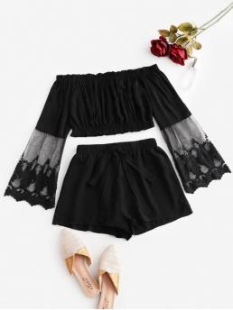 Fall Mesh Patchwork Flat Elastic High Long Off Regular Casual Going Off Shoulder Mesh Panel Knotted Two Piece Suit