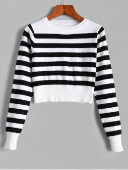Autumn and Spring and Winter Striped Elastic Full Crew Short Regular Fashion Daily and Going Pullovers Pullover Stripes Crew Neck Cropped Sweater