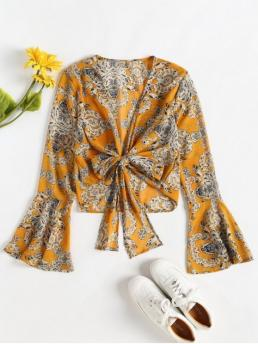 Print Full Regular Plunging Fashion Beach and Daily Tie Front Bell Sleeve Chiffon Blouse