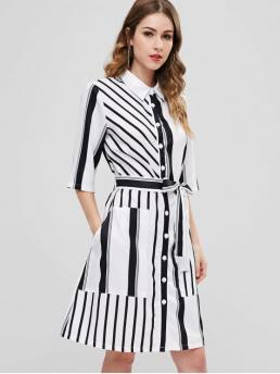 Yes Fall Striped 3/4 Shirt Knee-Length A-Line Casual and Day Casual Striped Button Up Pocket Shirt Dress