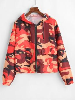 Autumn and Spring Camo Hooded Full Regular Wide-waisted Fashion Jackets Camo Print Full Zip Light Track Jacket