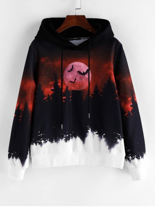 Autumn Bat and Moon Full Regular Hooded Hoodie Halloween Forest Bat Moon Print Drawstring Hoodie