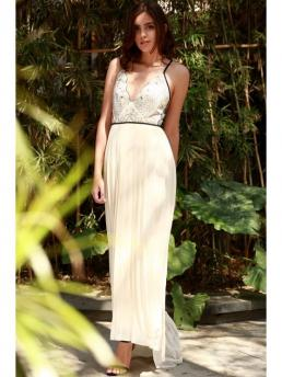 Summer No Floral Sleeveless Spaghetti Floor-Length A-Line Bohemian Embroidered Pleated Chiffon Prom Dress