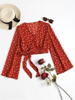 Spring and Summer Floral Full Short V-Collar Fashion Daily Cropped Wrap Top