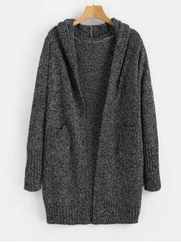 Autumn and Winter Pockets Others Micro-elastic Full Hooded Long Regular Fashion Daily and Going Cardigans Hooded Heathered Open Front Cardigan