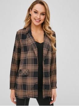 Fall and Spring Plaid Nonelastic Full Lapel Regular Loose Casual Open Front Checked Blazer