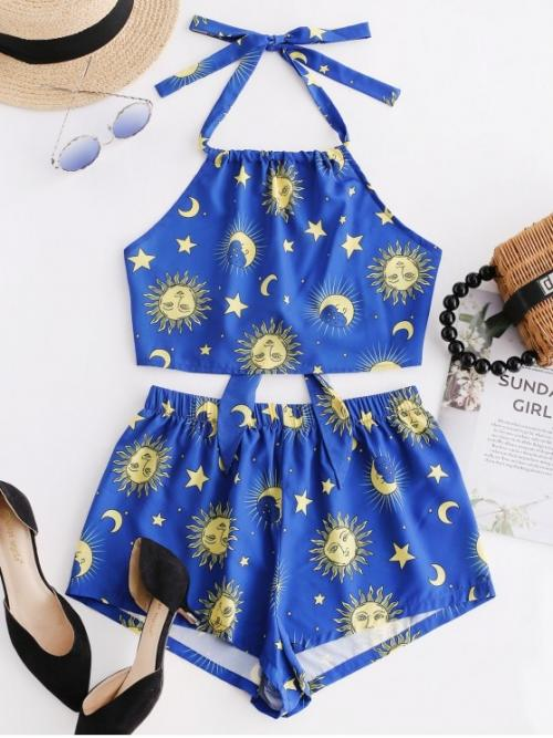 No Summer Moon and Star Flat Elastic High Nonelastic Sleeveless Halter Regular Fashion Beach Knotted Star Moon And Sun Top And Shorts Set