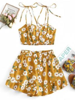 No Summer Ruffles Floral Flat Elastic High Sleeveless Spaghetti Loose Casual Beach Flower Smocked Ruffle Loose Shorts Set