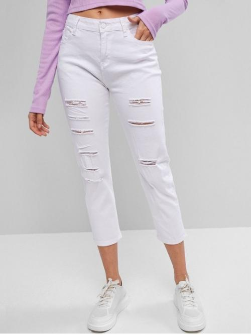 Fall and Spring No Elastic Zipper Pencil Solid Pockets Flat Skinny Mid Fashion Mid Rise Distressed Skinny Pants