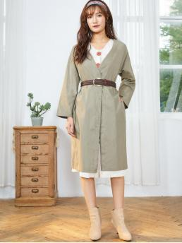 Full Sleeve Wide-waisted Cotton Solid Slip Duster Coat on Sale
