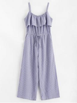 Summer No Striped Sleeveless Round Loose Casual Daily Striped Wide Leg Jumpsuit