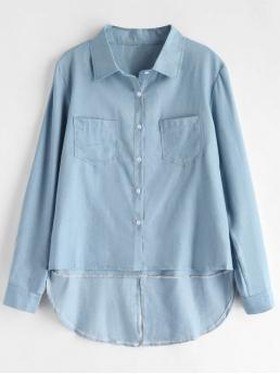Autumn and Spring Front Solid Full Regular Nonelastic Shirt Boyfriend Daily Chambray High Low Shirt