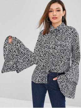 Floral Full Flare Regular Shirt Casual Daily Tiny Floral Bell Sleeves Shirt