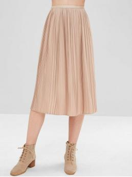 Fall and Spring Elastic Solid Pleated Mid-Calf Beach and Going Fashion Midi Pleated Skirt