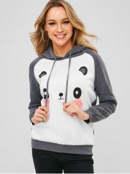 Graphic Full Regular Raglan Hoodie Raglan Sleeves Panda Face Graphic Hoodie