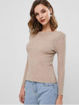 Autumn Solid Elastic Full Boat Regular Slim Fashion Daily and Going Pullovers Ribbed Knit Boat Neck Slim Sweater