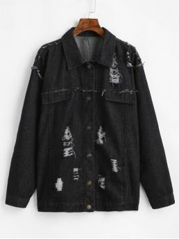 Autumn and Winter Frayed and Ripped Solid Single Shirt Full Regular Wide-waisted Fashion Jackets Daily and Going Frayed Ripped Boyfriend Denim Jeans Jacket