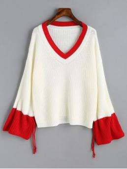 Patchwork Full V-Collar Fashion Pullovers Two Tone Drawstring Sleeve V Neck Sweater