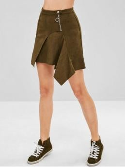 Wrap Faux Suede Asymmetrical Mini Skirt