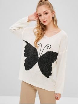 Autumn and Winter Criss-Cross Butterfly Micro-elastic Full Drop V-Collar Regular Regular Fashion Daily and Going Pullovers Butterfly Graphic Criss Cross Sweater