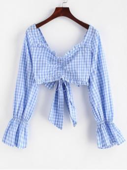 Backless and Ruffles and Tie Plaid Full Short Sweetheart Casual Daily Cinched Plaid Knotted Crop Blouse