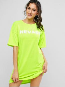 Summer No Letter Short Drop Round Mini Tee Straight Day Casual NEVADA Graphic Drop Shoulder Mini Dress