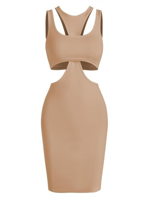Womens Light Coffee Solid Sleeveless Polyester,spandex Crop Top and Slinky Cutout Tank Dress