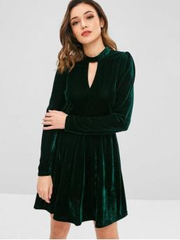 No Fall and Winter Solid Long Stand Mini A-Line Velour Cocktail Brief Velvet A Line Keyhole Dress