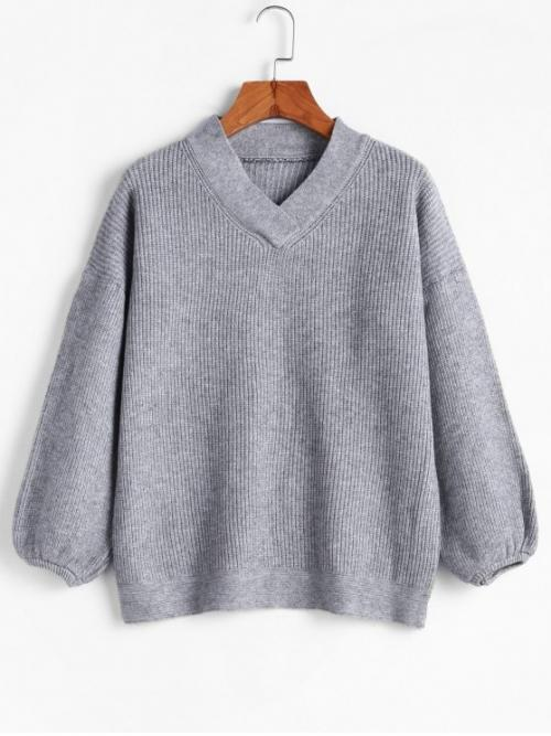 Autumn and Spring and Winter Solid Elastic Full Drop V-Collar Regular Regular Fashion Daily Pullovers Pullover V Neck Lantern Sleeve Sweater