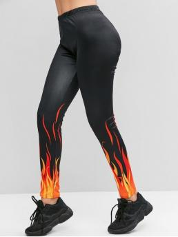 Fall and Spring Full Flame Elastic High Daily Fashion High Waisted Pull On Flame Print Leggings