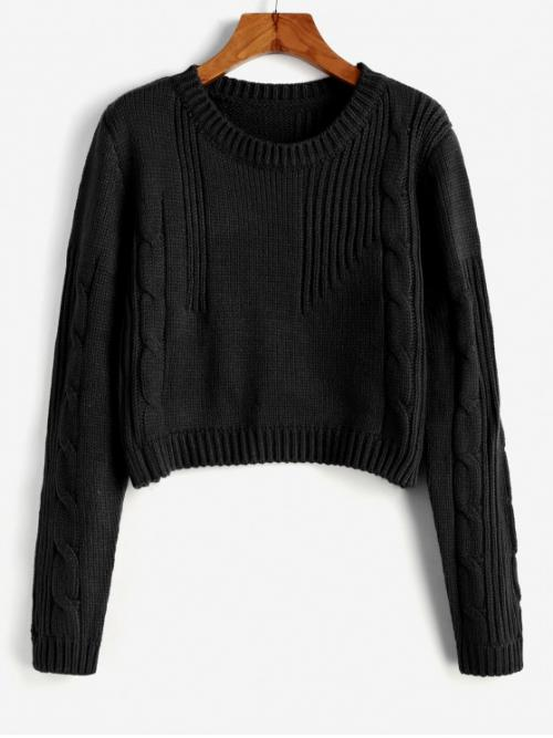 Autumn and Winter Solid Elastic Full Crew Short Regular Cute Daily Pullovers Cable Knit Cropped Sweater
