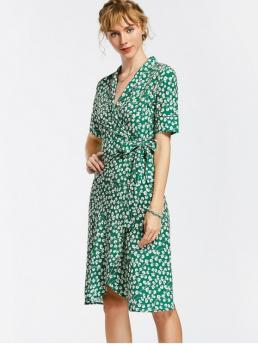 Summer No Floral 1/2 Mid-Calf V-Collar Straight Casual and Going Brief Floral Wrap Dress