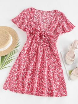 Red Leaf Short Sleeves Rayon Leaves Print Front Knot Dress Cheap
