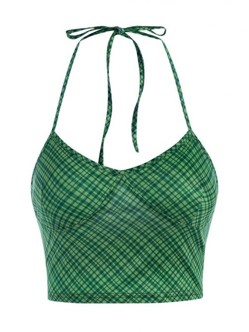 Sale Polyester,polyurethane Plaid Green Sexy Halter Cupped Crop Tank Top