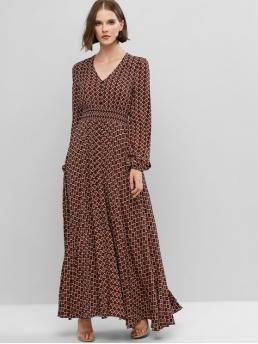 No Fall and Spring Floral and Geometric Long V-Collar Floor-Length A-Line Casual and Vacation Bohemian Flower V Neck Lantern Sleeve Maxi Dress