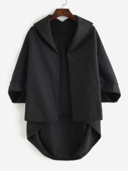 Discount Three Quarter Sleeve Wide-waisted Polyester,polyurethane Solid Open Front Tunic Cape Coat