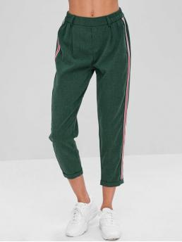 Fall and Summer No Elastic Pencil Others Regular Mid Fashion Stripes Patched Rolled Hem Pants