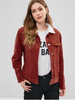 Winter Solid Turn-down Full Regular Wide-waisted Casual Jackets Borg Lined Corduroy Jacket