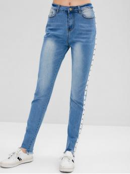 Micro-elastic Fall and Spring Frayed Zipper High Skinny Normal Light Fashion Grommet Frayed Skinny Jeans