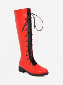 Trendy PU Lace-Up Others 3CM Chunky Round Knee-High Fall and Spring Fashion For Cut Out Lace Up PU Leather Knee High Boots