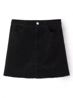 No Summer Button Solid A-Line Mini Daily Leisure Frayed Hem Corduroy Mini Skirt