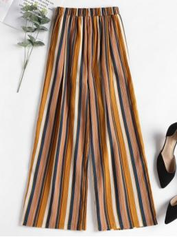 Summer No Elastic Wide Striped Loose High Fashion Contrast Striped Wide Leg Pants