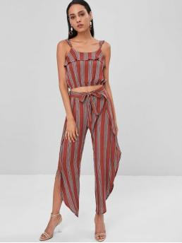 Spring and Summer Striped Flat Elastic High Sleeveless Square Loose Casual Beach Striped Crop Top and Slit Pants Matching Set