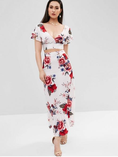 Fall and Spring and Summer Floral Flat Zipper High Short Plunging A Fashion Beach Plunge Floral Two Piece Maxi Dress